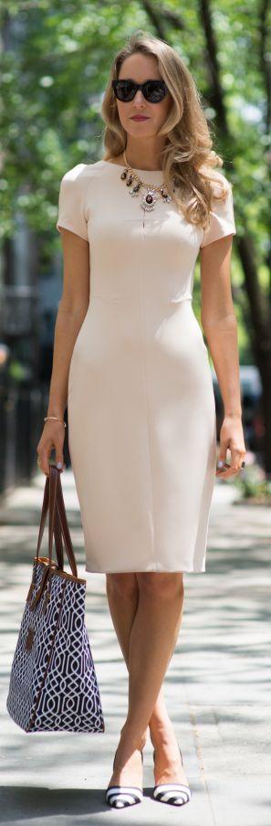 Memorandum Nude Office Sheath Midi Dress