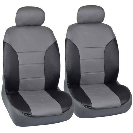 FOR TOYOTA PREMIUM BLACK GREY SYNTHETIC LEATHER CAR SEAT STEERING COVERS SET