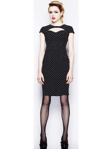 Black & White Sandy Pencil Dress - Anomalie Clothing - This snappy dress features: Polka dot bengaline pencil dress. Fabric has lots of stretch. Printed polka dots. Cap sleeves. Open at the chest on front bodice. False closure at the front with a fabric covered button. V-shaped back, closes with a fabric covered button. Fastens with a zip in the centre back seam of dress. Corporate goth fashion - Alternative style - Hell Bunny
