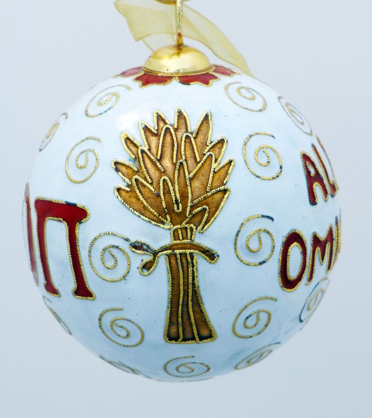 Officially licensed Alpha Omicron Pi, handcrafted, 24k gold plated cloisonne ornament - www.KittyKeller.com