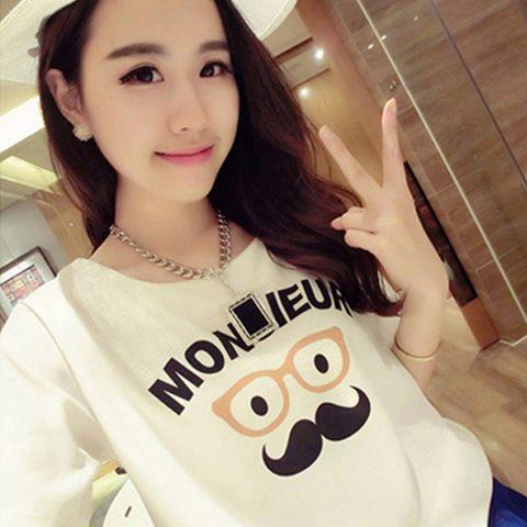 Camiseta femme vetement femme Bigode impressão 2016 mulheres verão coreano moda feminina tumblr poleras de mujer camiseta t-shirt