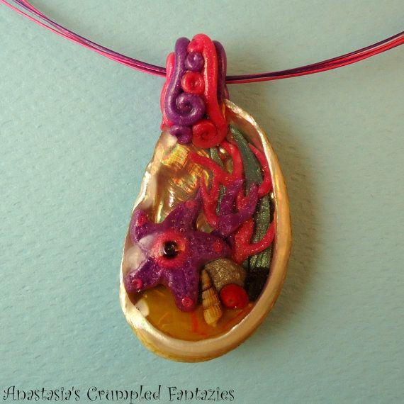 Handmade polymer clay pink purple starfish by CrumpledFantazies