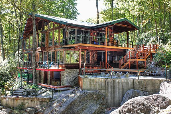 Waterfalls Mtn Lodge Burnsville NC  OMG AMAZING slps9  $1975wk  3N$1225 Oct-June 1K +ba, 1Q +ba, loft 2 tw, down st 2 tw Arts + Crafts style house was built into the side of the mountain next to a swimming hole in Cattail Creek is designed so each room  has floor to ceiling windows oriented to cascading creek, waterfalls, trout ponds and mountain woodland. outside patio with fire-pit; game rm pingpong; 2 fireplaces; 2 kitchens; large scrn TV's; cable/satellite, washer/dryer, dishwash, linens