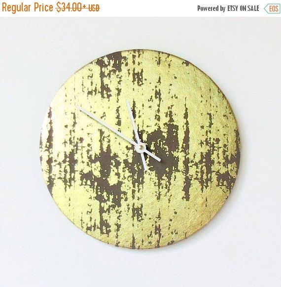Sale, Wall Clock, Gold and Grey Clock, Art Deco Wall Decor,  Decor and Housewares, Home Decor, Hone and Living,  Housewarming Gift by Shannybeebo on Etsy https://www.etsy.com/listing/228958260/sale-wall-clock-gold-and-grey-clock-art
