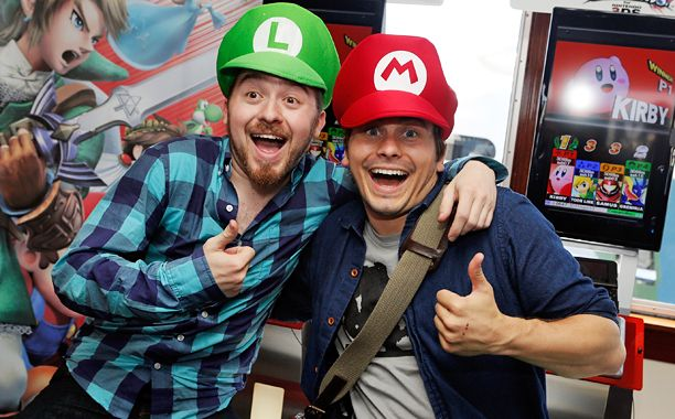 Alex Hirsch and Jason Ritter at the Nintendo Lounge on the TV Guide Magazine yacht at SDCC