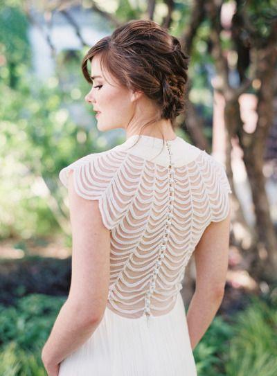 Scalloped back: http://www.stylemepretty.com/2014/07/22/wedding-dress-back-styles-we-love/