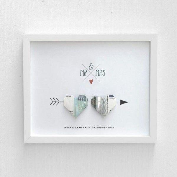Geldgeschenk Hochzeit: Bild mit Geldschein-Herzen
