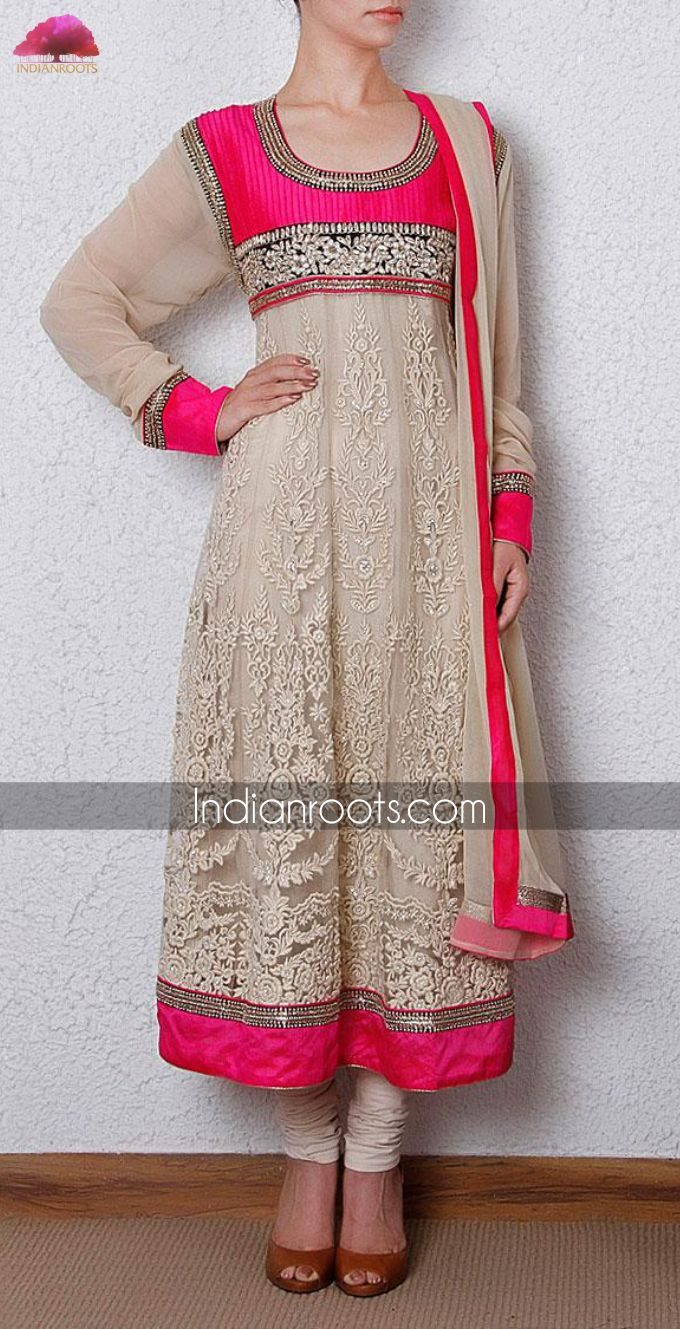 Beige & pink net anarkali suit featuring zardozi embroidery by Tacfab on Indianroots.com