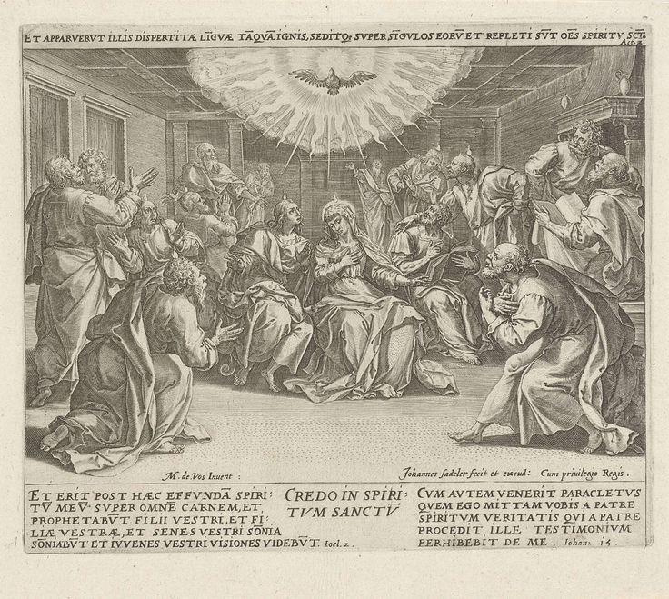 Johann Sadeler (I) | Uitstorting van de Heilige Geest: 'ik geloof in de Heilige Geest', Johann Sadeler (I), 1579 | Het achtste geloofsartikel: het geloof in de Heilige Geest. De maagd Maria en de twaalf apostelen zitten in een kamervertrek. Vurige tongen, als teken voor de uitstorting, branden boven de hoofden van enkele van hen. De Heilige Geest, in de gedaante van een duif, zweeft boven de apostelen, omgeven door lichtstralen. De prent heeft een Latijns opschrift met een Bijbelcitaat dat…
