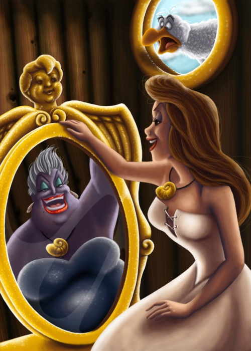 The witch was watch in the mirror and she was singing with a stolen set of pipes!!!-Scuttle. :)