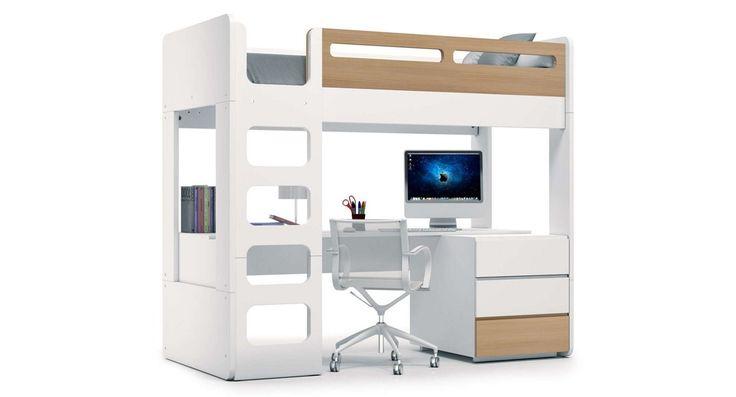 Litera juvenil UP NATURE Alondra. Cama alta con escritorio, la habitación de ensueño de cualquier niño.. http://www.alondra.es/muebles-juveniles/literas-ninos-escritorio-nature-QL701M-2391