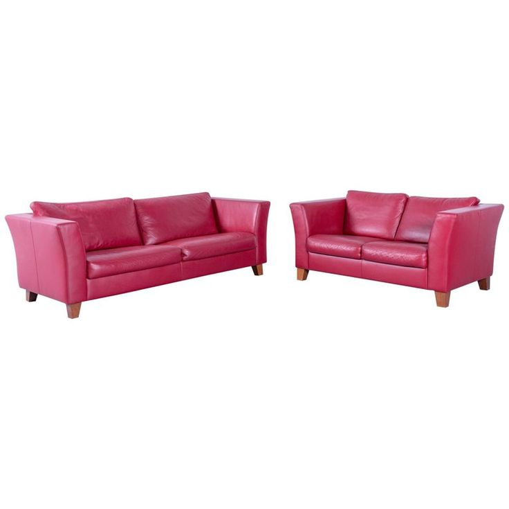 Machalke Designer Leather Sofa Set Red Three-Seat and Two-Seat Couch | 1stdibs.com