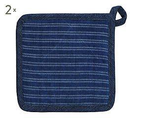 2 Gants de cuisson MIRA coton, bleu - L32