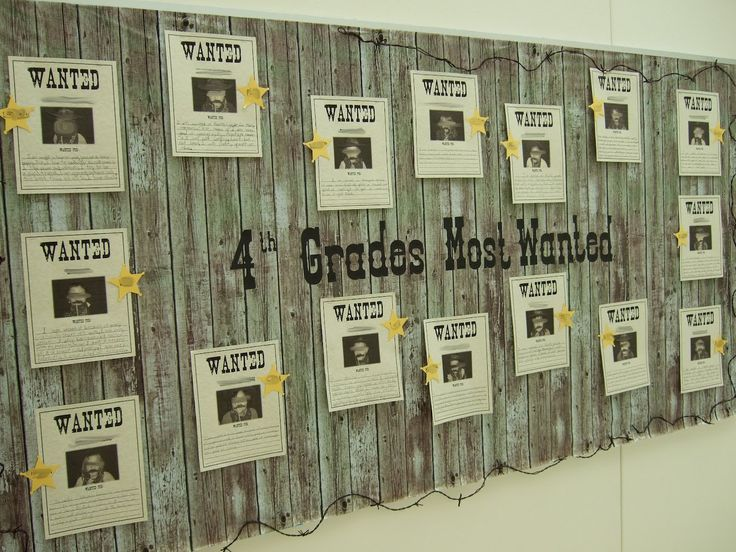 So cute! Found this on a blog.  This was my beginning of the year board. I took photos of the students in which they were wearing a bandana, hat, and holding up a mustache. They had to complete the wanted poster by writing about why they were wanted in 4th grade--the awesome traits and abilities they brought to our class.