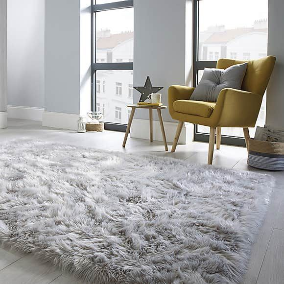 Faux Fur Grey Sheepskin Rug Dunelm