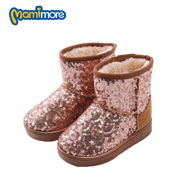 Nieuwe Collectie Kinderen Snowboots Meisjes Pailletten Solid Warm 2016 Winter Kind Laarzen Rubber Mode Plus Fluwelen Sneeuw Schoenen Jongens Hot