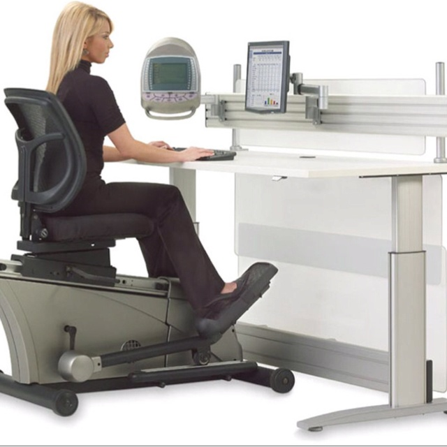 "The body simply isn't meant to sit still in one place all day in some weird ""ergonomic"" position - it's meant to move. The cool new Elliptical Machine Adjustable-Height Desk is the first office workstation to combine an electric height-adjustable sit or stand desk with a semi-recumbent elliptical trainer to help keep you active, energized and more productive in the workplace. For more info go to www.hammacher.com"