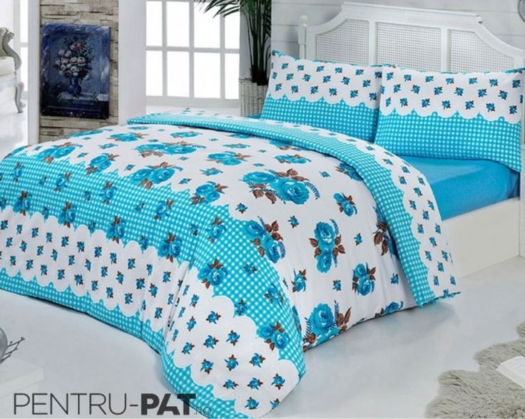Set cuvertura pat pentru doua persoane Anatolia blue & white
