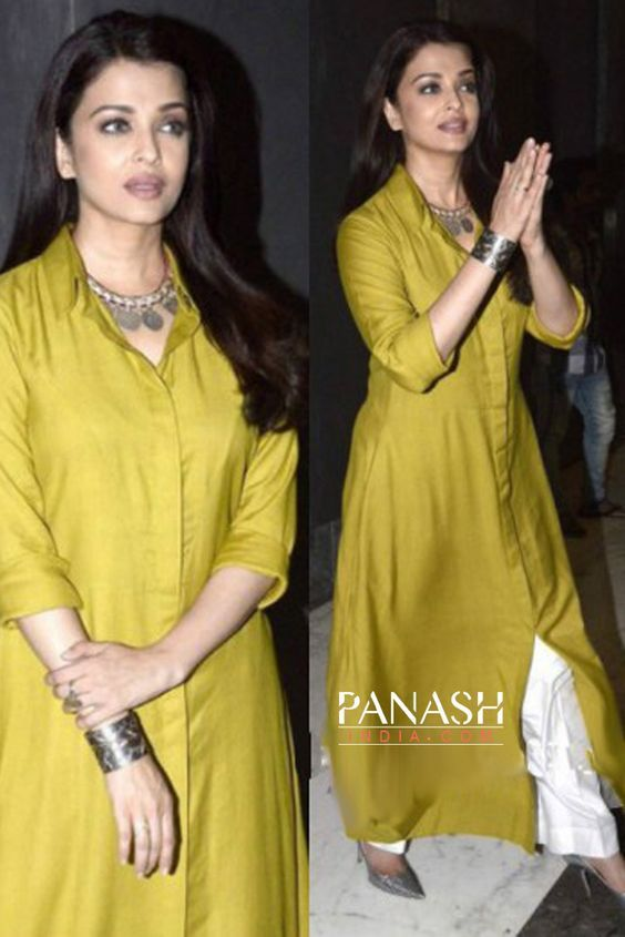 Style you daywear smartly with a cotton or silk plain kurta and a #palazzo and look stunning like #AishwaryaRaiBachchan: