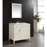 "$739.99 The 36"" Urban Loft Vanity is defined by its white finish, multi finish chrome pulls hardware and clean lines and contemporary look. The beautiful vanity provides plenty of storage with 2 doors open storage and 1 bank of drawers with 3 working drawers and 1 false drawer."