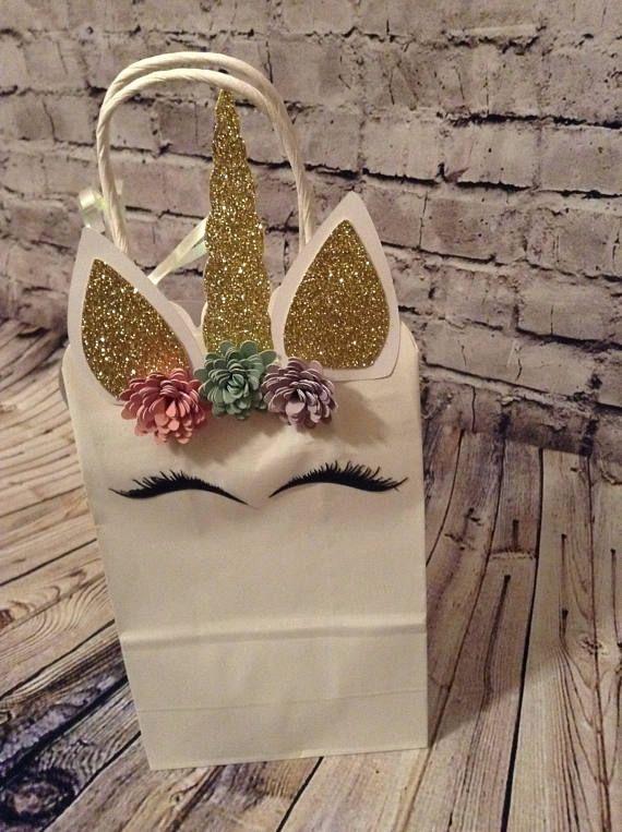 8 Unicorn treat bag goody bag magical party favor bag