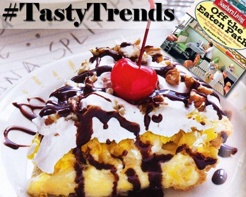 #TastyTrends: Southern Banana Split Pie!  Recipe on Page 199!  Off the Eaten Path -Favorite Southern Dives and 150 Recipes That Made Them Famous  By - Morgan, Murphy  http://ow.ly/RlDe6