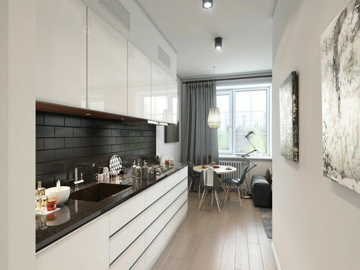 cocina con salpicadero de losas negras