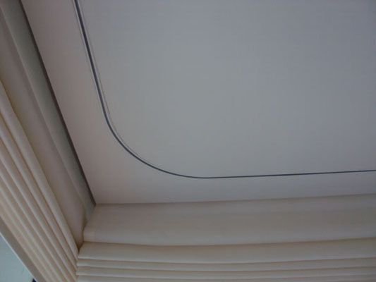 Recessed Motorised Curtain Track Bent With Ceiling Flush