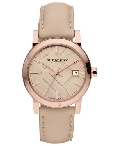 Burberry Watch, Women's Swiss Nude Leather Strap 34mm BU9109 from Macy's on shop.CatalogSpree.com, your personal digital mall.