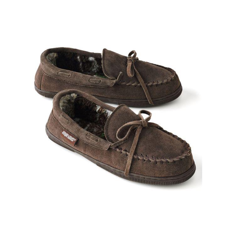 MUK LUKS Men's Leather Berber Fleece Moccasin Slippers, Size: 11, Brown