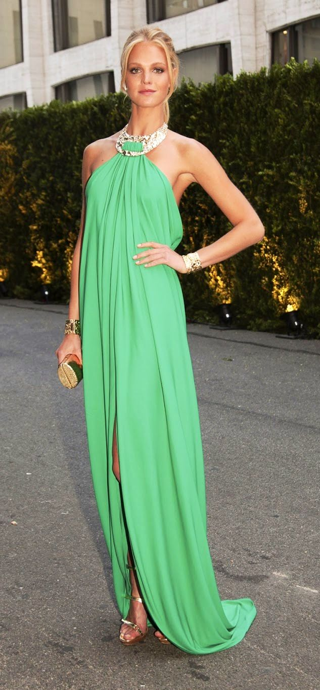 green glamourous maxi dress