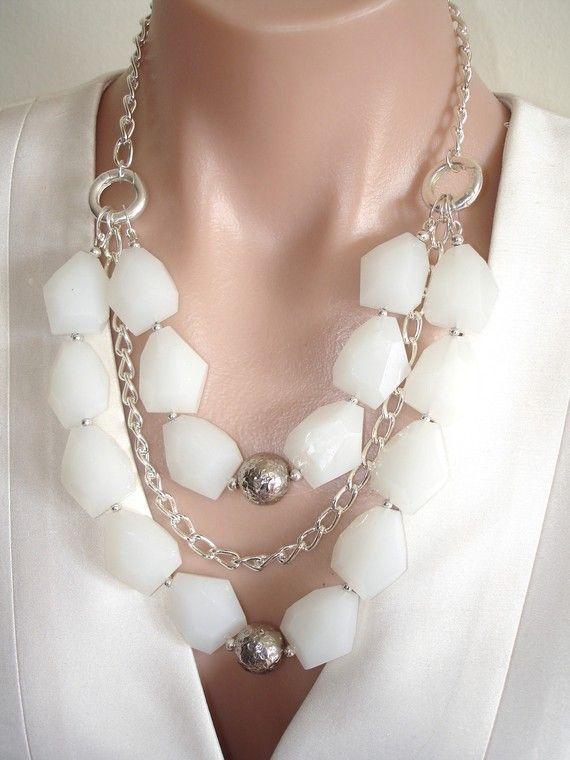 http://www.etsy.com/listing/71797364/ashira-white-quartz-and-silver  ASHIRA White Quartz and Silver Convertible Artisan Handmade Statement Necklace $145