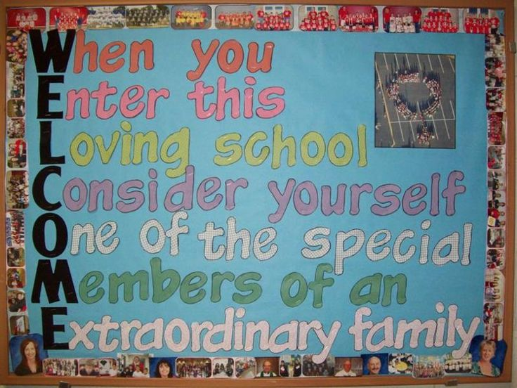Back to school bulletin board that would be great near a school entrance.