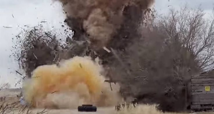 Pesky barn you need to get rid of? A 164lbs tannerite explosion will take care of it.