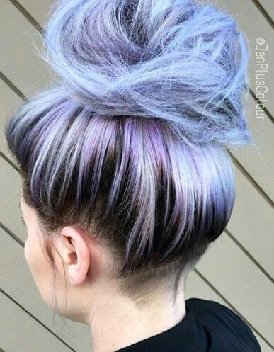 "Pastel blue dyed hair color messy bun style. i also love the ""shadow roots"" guy tang lmao"