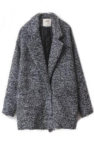 Marble Cocoon Oversized Pea Boyfriend Coat Wool Jacket #boyfriendcoat #coats