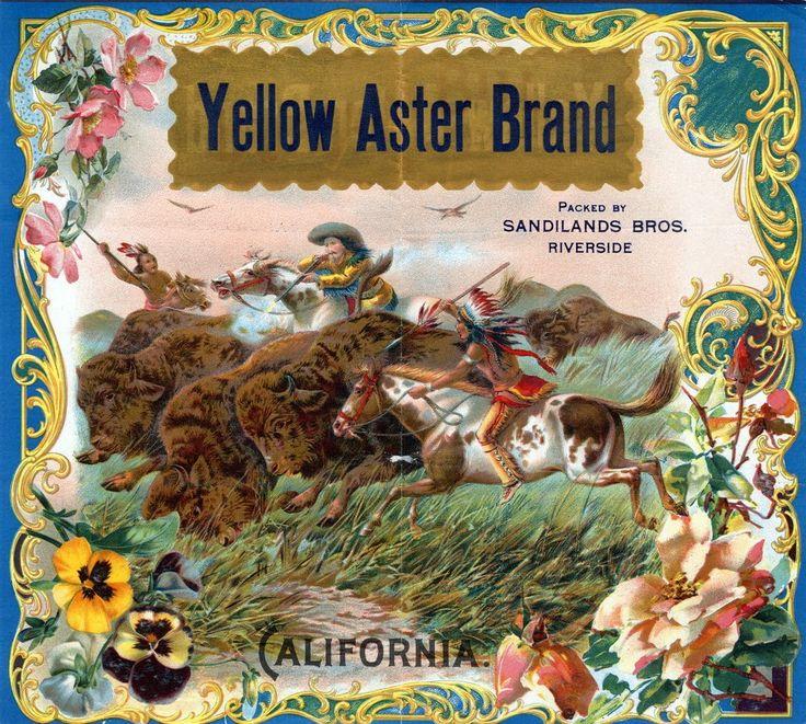 Yellow Aster Brand Oranges Riverside, California