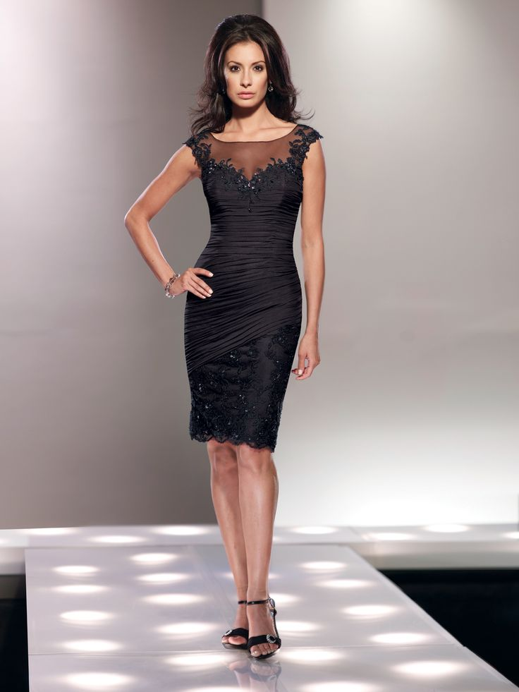 Stretch illusion knee-length sheath with illusion lace cap sleeves, illusion bateau neckline, asymmetrically ruched sweetheart bodice trimmed with hand-beaded lace, asymmetrically dropped waistline, beaded lace skirt with scalloped hemline, suitable for wedding guests, formal events and as a cocktail dress. Matching shawl included. Sizes: 4 � 20