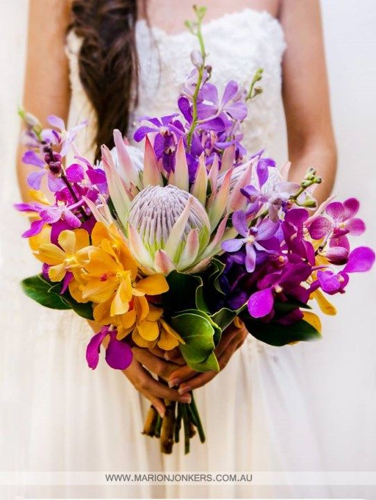 Proteas and Orchids working together beautifully in this native-themed bouquet from Wendy's Flowers