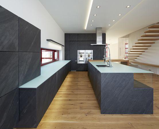 Kitchen with stone veneer.