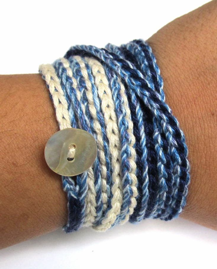 Crochet wrap bracelet / necklace, blue, cream, crochet jewelry, fiber jewelry, bohemian jewelry, fall fashion, ready to ship. via  Coffy Crochet on Etsy.