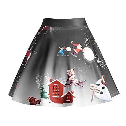 f597fc59eb37f7 Impression de Noël pour Femmes Big Swing Jupe Mini Jupe Jupe Plissée ...