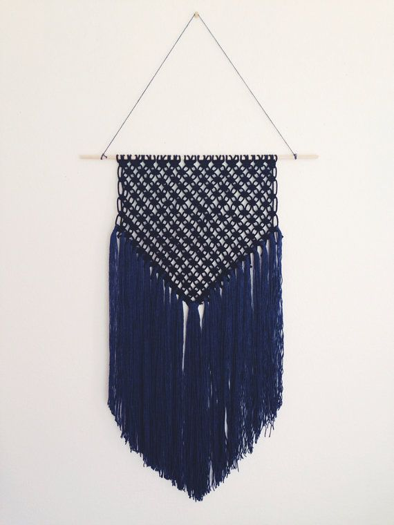 Black and blue macrame wall hanging by leialala on Etsy, $65.00