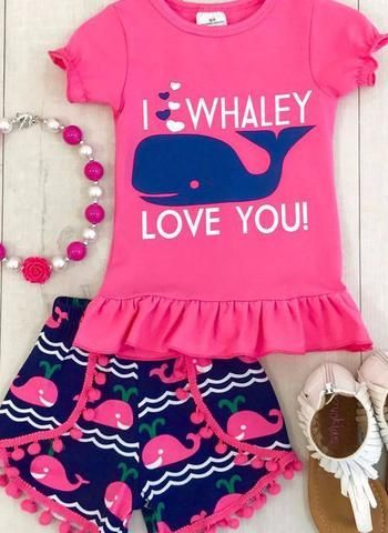 I Whaley Love You! Girls 2 Piece Pom-Pom Outfit