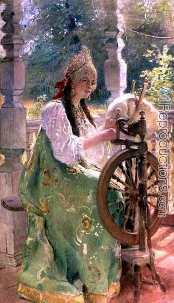 At the Spinning-Wheel by Konstantin Egorovich Egorovich Makovsky