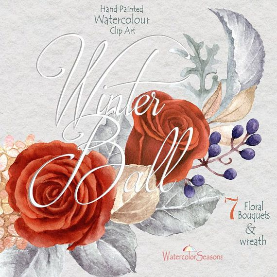Watercolor Hand Painted Clipart Red Roses Bouquet Flower