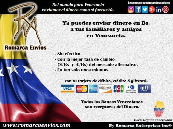 Si quieres enviar dinero a tus familiares o amigos en #Venezuela, #RomarcaEnvios…