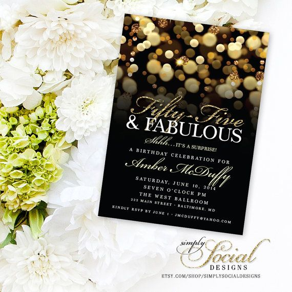 Surprise 55th Birthday Party Invitation with Gold Glitter Bokeh Fifty Five and Fabulous PRINTABLE