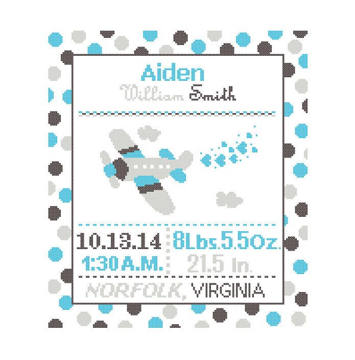 1 Cross Stitch custom Pattern Baby Boy Personalised Birth Announcement Birth Record Airplane Charcoal Aqua Gray Transport polka dots cute by ZindagiDesigns on Etsy https://www.etsy.com/listing/218167165/1-cross-stitch-custom-pattern-baby-boy