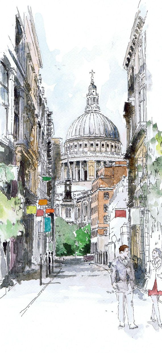 Original watercolour of St Paul's London от Freehandline на Etsy